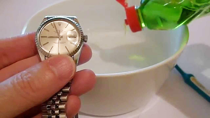 A bowl of warm water with just a little bit of liquid dish soap mixed in is needed for cleaning your luxury watch.